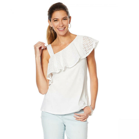 MOTTO Women's Asymmetrical Flounce Eyelet Top