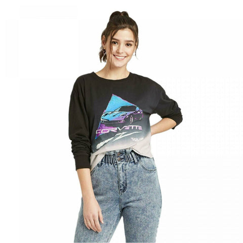 Corvette Women's Long Sleeve Cropped Graphic T-Shirt