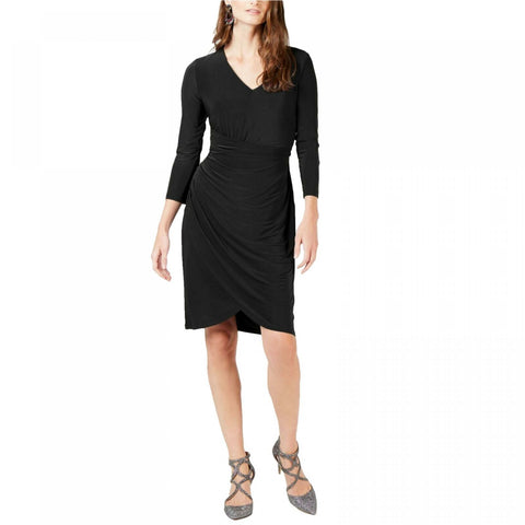INC International Concepts Women's Ruched V-Neck 3/4-Sleeve Dress