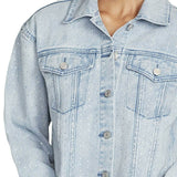 Skinnygirl Women's Plus Size Studded Cropped Denim Jean Jacket