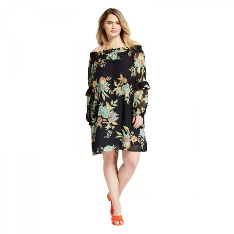Xhilaration Women's Plus Size Floral Off The Shoulder Ruffle Sleeve Dress