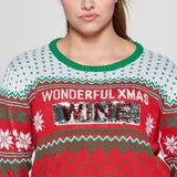 Well Worn Women's Plus Size Xmas Time/Wine Reversible Christmas Ugly Sweater