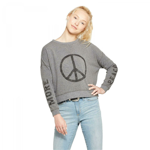 Fifth Sun Women's MORE PEACE Oversized Pullover Graphic Sweatshirt