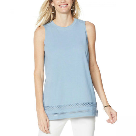 DG2 by Diane Gilman Women's Crochet Trim Tank Top
