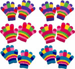 ZUZIFY 6 Pairs Toddlers Fun Striped Magic Knit Gloves