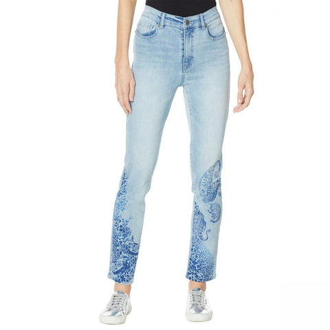 DG2 by Diane Gilman Women's Stretch Artwork Slim Leg Jeans