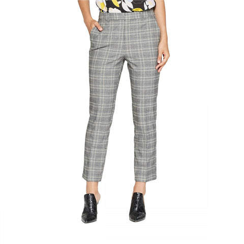 Who What Wear Women's Plaid Split Back Relaxed Ankle Trousers Dress Pants
