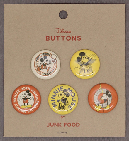 Junk Food 90th Anniversary Retro Mickey Mouse Set of 5 Button Pins