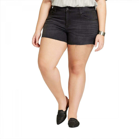 Universal Thread Women's Plus Size Raw Hem Midi Denim Jean Shorts