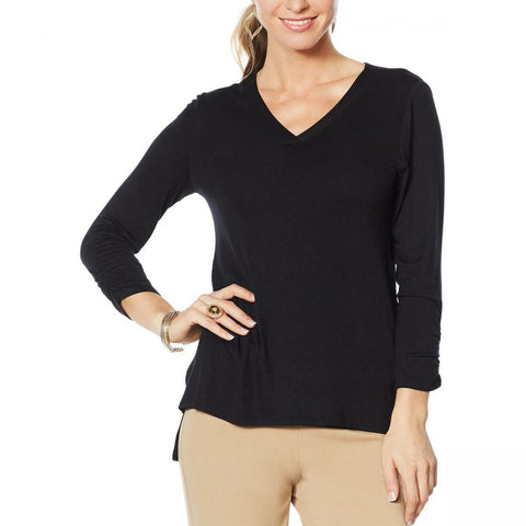 Slinky Brand Women's Ruched-Sleeve V-Neck Tunic With Step Hem