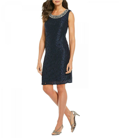 R&M Richards Womens Beaded-Neck Glitter Pullover Dress. 2208 Navy 14