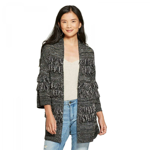 Knox Rose Women's Long Sleeve Open Fringe Cardigan Sweater