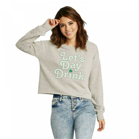 Grayson/Threads Women's St. Patrick's Day Let's Day Drink Cropped Sweatshirt
