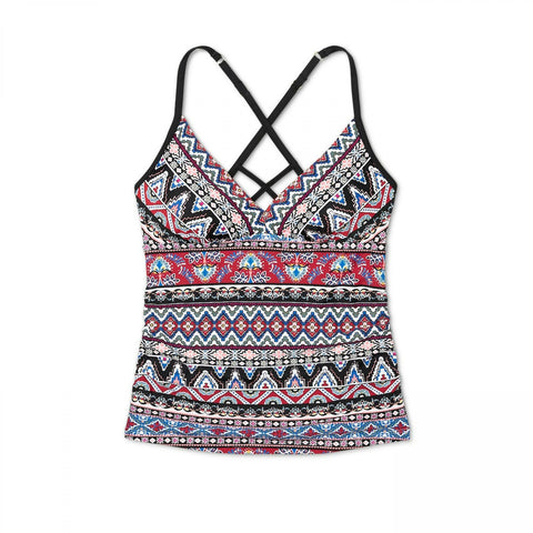Kona Sol Women's Patterned Strappy Back Tankini Top