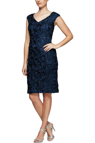Alex Evening Women's Rosette Sheath Dress Navy Blue 6