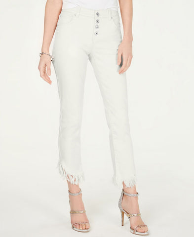 INC International Concepts Women's Fringe-Hem Button Straight-Leg Jeans White 10
