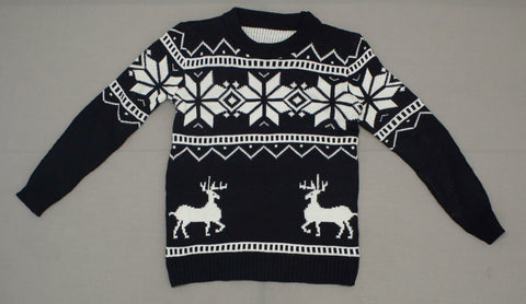 Unvbranded Men's Reindeer Nordic Pattern Ugly Christmas Sweater Navy Blue Small