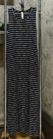 MarlaWynne Striped Sleeveless Knit Maxi Dress With Pockets Black Combo XS
