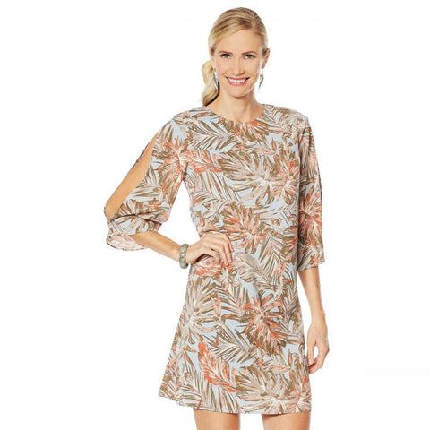 G by Giuliana Women's Slit Sleeve Lined Printed Shift Dress