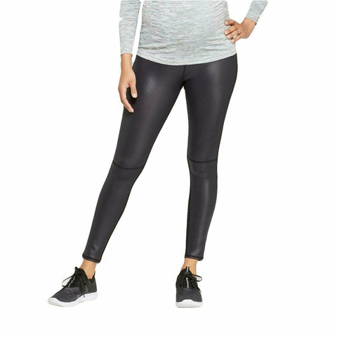 Isabel Maternity Faux Front Leather Active Leggings with Crossover Panel