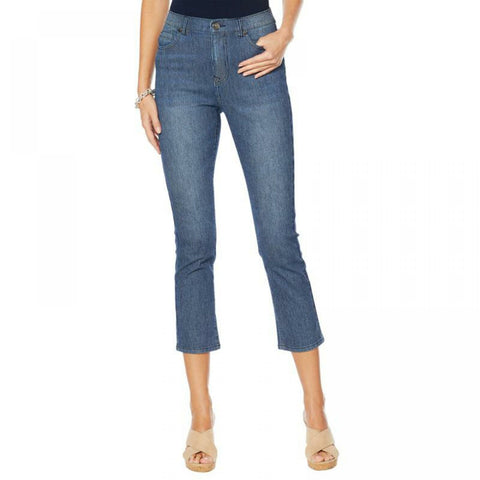 DG2 by Diane Gilman Women's Tall Classic Stretch Pinstripe Crop Jeans