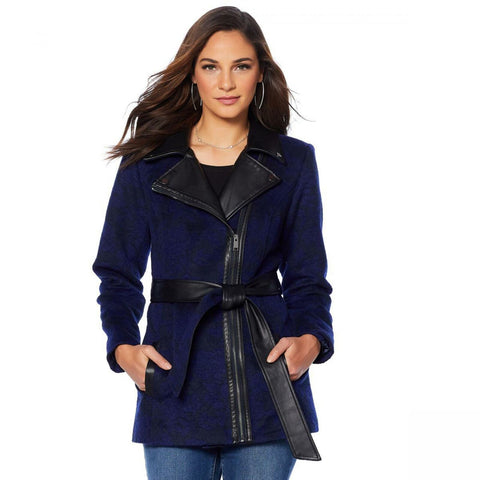 MOTTO Women's Floral Jacquard Coat With Faux Leather Trim