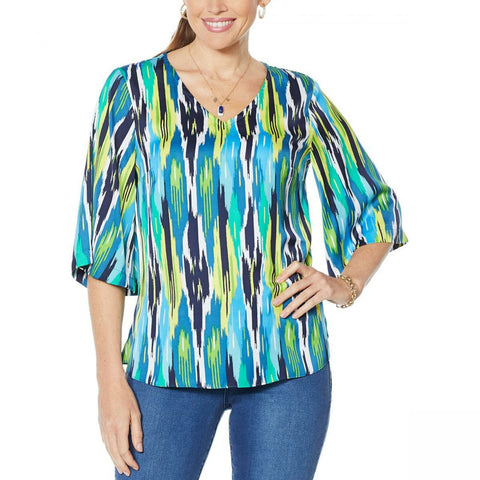 IMAN Women's City Chic Printed V-Neck Tunic Top
