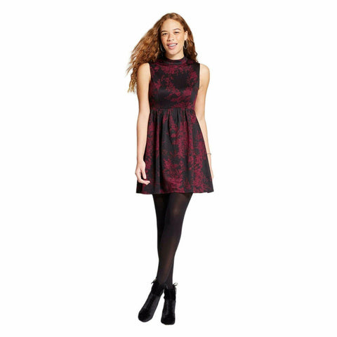 Xhilaration Women's Sleeveless Knit Jacquard Fit & Flare Dress