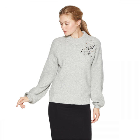 A New Day Women's Embellished Mock Neck Pullover Sweater