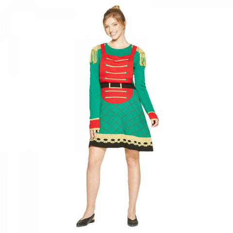 Born Famous Women's Ugly Christmas Sweater Toy Soldier Dress