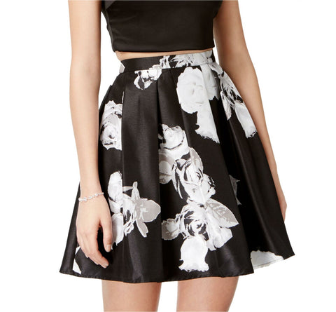 Sequin Hearts Women's Floral Double Lined A-Line Skirt. 9443PZ1P Black Small