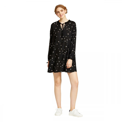 Mossimo Women's Rayon Long Sleeve Star Shift Dress Black Small