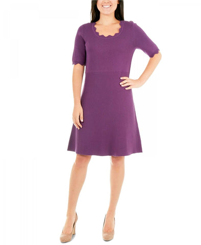 NY Collection Women's Petite Scalloped Fit & Flare Sweater Dress. PSVD0373