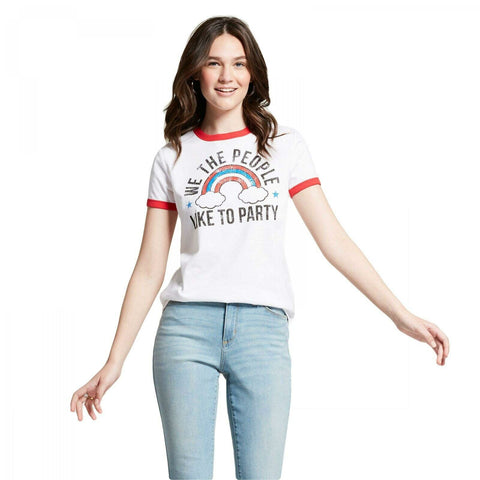 Modern Lux Women's We Like To Party Ringer Graphic T-Shirt