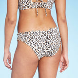 Shade & Shore Women's Leopard Ruffle Cheeky Bikini Swim Bottom