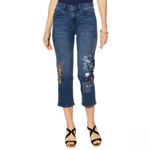 DG2 by Diane Gilman Women's Petite Classic Stretch Embroidered Cropped Jeans