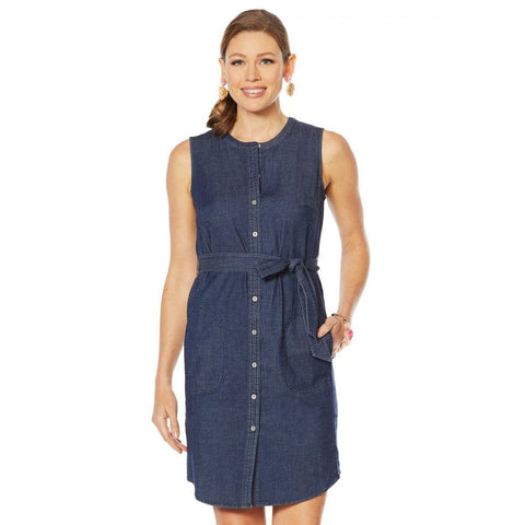 Lemon Way Women's Belted Sleeveless Stretch Denim Button Down Shirt Dress