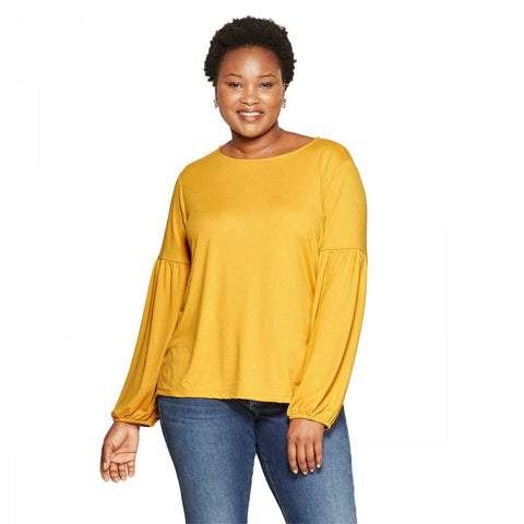 Ava & Viv Women's Plus Size Liquid Knit Pleated Long Sleeve Knit Top Shirt