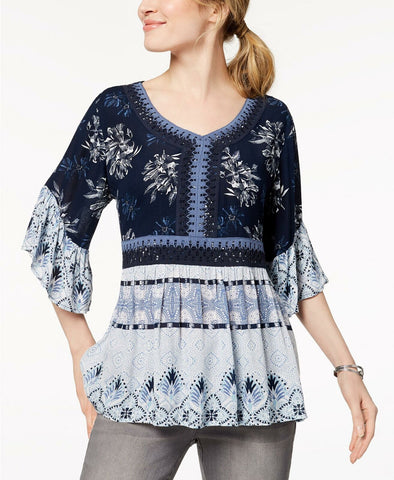Style & Co. Women's Mixed-Print Crochet Peasant Top. 100016238 Blue L