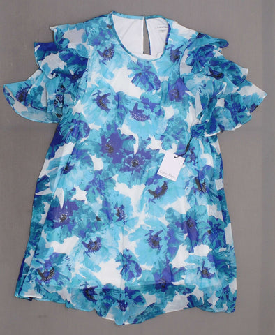 Calvin Klein Women's Lined Ruffle Sleeve Dress. CD8H35MY Blue Floral 12