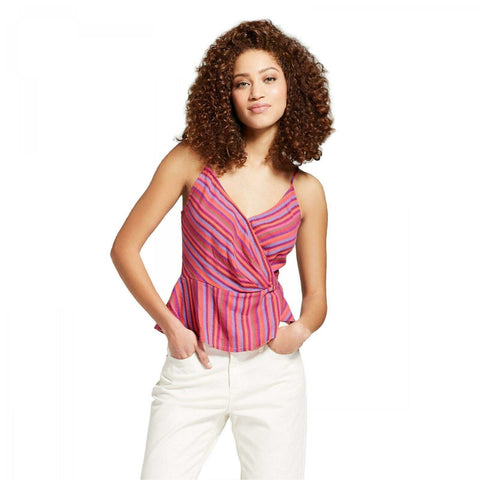 A New Day Women's Striped Sleeveless Wrap Front Camisole Top