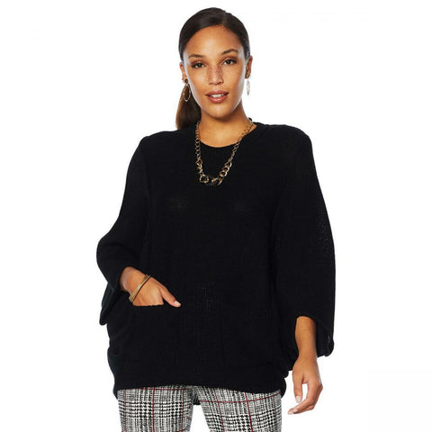 Nina Leonard Women's Batwing 3/4 Sleeve Sweater With Front Pockets