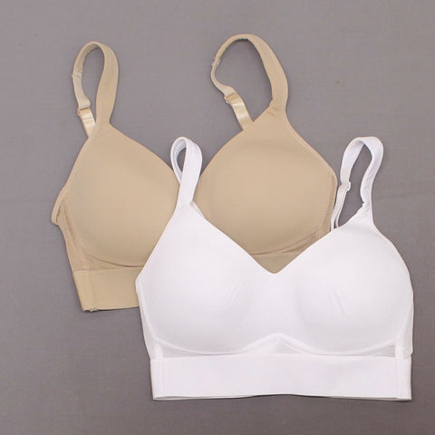 Rhonda Shear 2 Pack Mesh Back Detail Molded Cup Bras White Nude Small