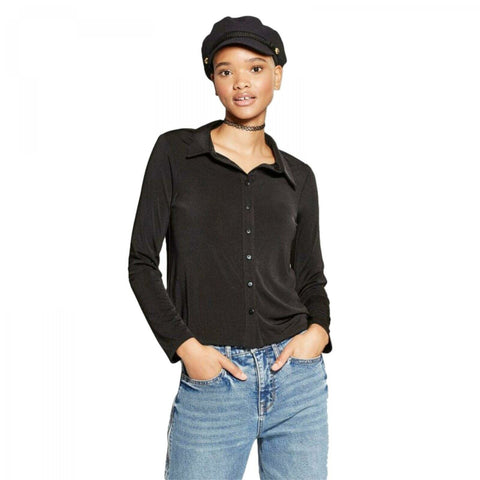 Wild Fable Women's Stretch Knit Long Sleeve Button-Down Blouse Shirt Top