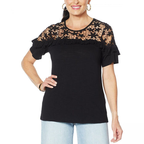 DG2 by Diane Gilman Women's Plus Size Crochet And Ruffle Top