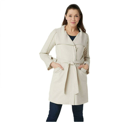 H by Halston Women's Cascade Zip-Front Twill Knee-Length Coat. A351191