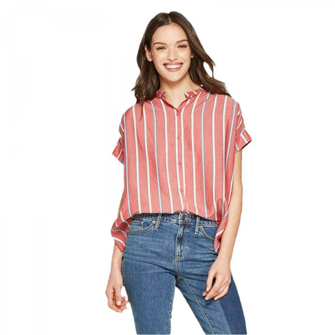 Universal Thread Women's Banded Striped Short Sleeve Woven Top Shirt Blouse