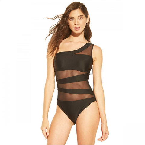 Shade & Shore Women's One Shoulder Mesh Inset Piece Swimsuit