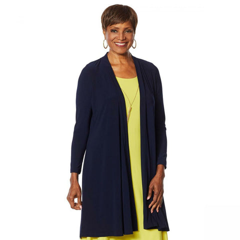 Nina Leonard Women's Miracle Matte Duster Cardigan With Back Tie