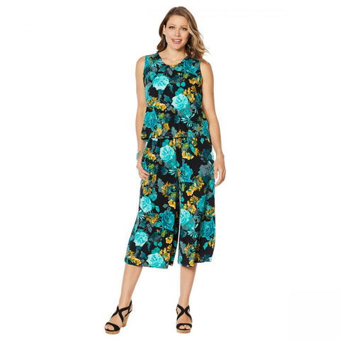 Lemon Way Women's Floral Sleeveless Stretch Jersey Jumpsuit